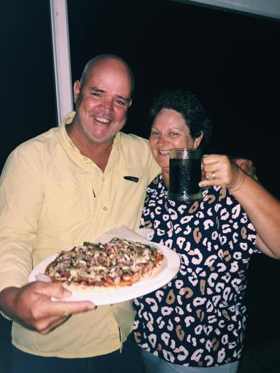 Col & Robyn with their pizza
